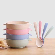 Hot sale 2017 new children bowl spoon set rice noodle salad bowl cup bottle soup wheat straw baby kid kitchen accessories cute