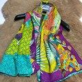 Мода Для Печати женщин Шелковый Шерстяной Шарф Обертывания для Женщин Зима Теплая Шаль Шарфов Кабо Одежда Аксессуары