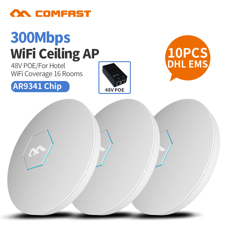 все цены на 10pc COMFAST CF-E325N Indoor Ceiling 300Mbps High power 2.4G Wifi Signal Amplifier Repeater Wifi Router 48V POE Access point ap онлайн