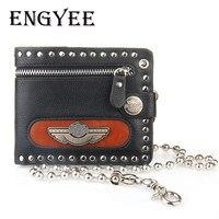 ENGYEE Fashion Wallet Short Punk Purses Credit Card Pocket Money Male Vintage Biker Trucker Rock Money
