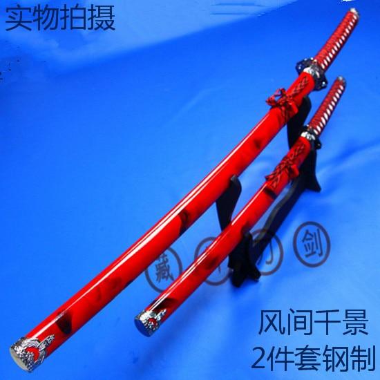 Decoratie zwaard rood set Cosplay rekwisieten wapens katana staal - Huisdecoratie