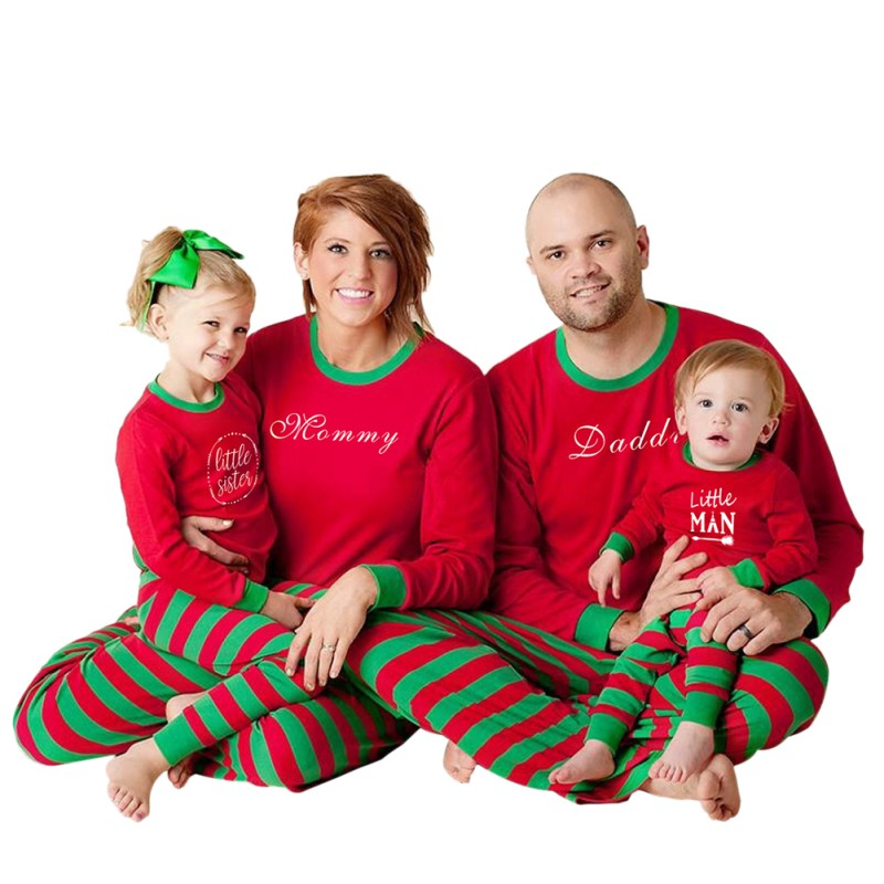 XMAS Family Matching Christmas Pajamas Set Women Baby Kids Letter Print Sleepwear