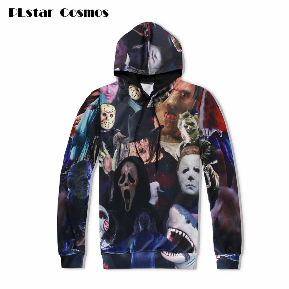 PLstar Cosmos 2018 Harajuku men women hoodie 3D horror movie killers/Halloween Devil/shark/Zombie sweatshirt hoody outerwear top