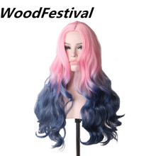 WoodFestival Women Wavy Long Pink Wig Heat Resistant Ombre Synthetic Cosplay Wigs