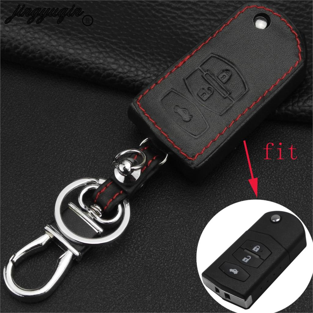 jingyuqin 3 Button Leather Remote Fob Car Key Case Cover For Mazda 2 3 5 6 RX8 MX5 Flip Remote Key Bag Case Car styling Keychain image