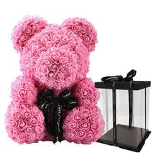Valentine's Day Gift Bear Rabbit Artificial Flowers Plush Teddy Bear Rose Flower Gifts for Women Gift 2019 25/40/70cm