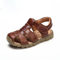 New kids Genuine Leather Beach Sandals Baby Boys Summer Prewalker shoes Soft Sole Antiskid moccasins 4 color for 13-21CM sole