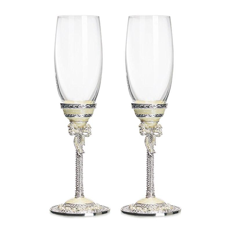 Arts créatifs et artisanat mariage Champagne verre cristal tasse vin rouge Champagne verre Bar fête boisson cadeau de mariage 2 pièces/ensemble