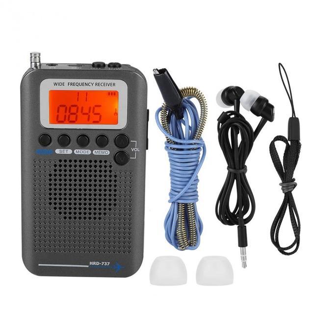 2019 aviones FullBand Radio VHF Portátil FM SW Radio VHF CB 30-223MHZ 25-28MHZ aire 118-138MHZ con reloj despertador Dual