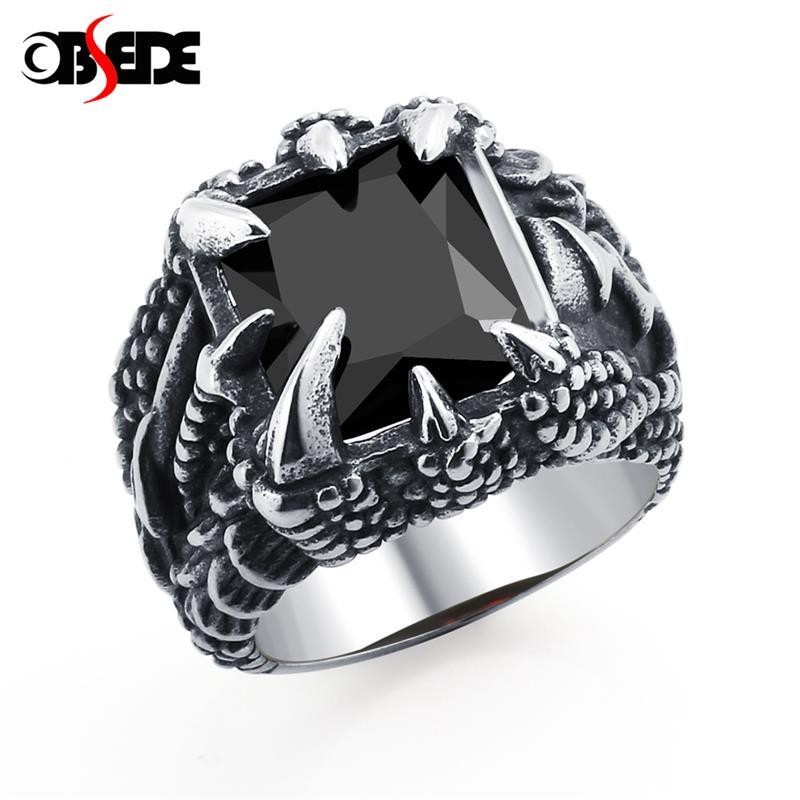1a52f4fb0eea OBSEDE Vintage garra de dragón de titanio anillo anillos de acero AAAAA CZ  piedra de cristal negro de Color plata tamaño 9-12 para regalo
