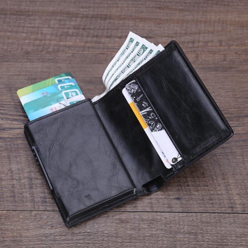 PU Leather Credit Card Holder Men Women RFID Metal Card Holder (2)