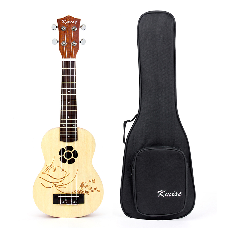 где купить Kmise Soprano Ukulele Spruce 21 Inch Ukelele Uke Acoustic 4 String Hawaii Guitar 12 Frets with Gig Bag по лучшей цене