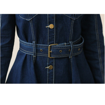 Women Spring Summer Long Sleeve Slim Denim Dresses Female Casual Lapel Solid Color Button Cardigan A Line Jeans Dress Miniskirt 4