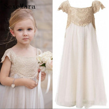 New Champagne Lace A Line Girls Dress for Birthday Soft Chiffon Ankle Length Long Girls Pageant Party Gown Custom Made Size цена и фото