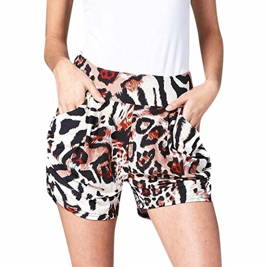 2019 Spodenki Damskie damskie lato Leopard Print kieszeń Spodenki miękkie Harem spodni Spodenki Damskie krótkie Feminino szorty damskie