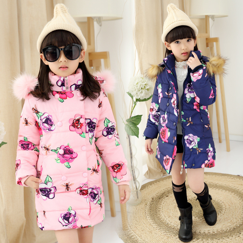 2016 Winter Girls Long Cotton-Padded Parkas Fur Hooded, Flower Girls Winter Coat,Thick Winter Jacket For Girls, Height 110-150cm winter jacket female parkas hooded fur collar long down cotton jacket thicken warm cotton padded women coat plus size 3xl k450