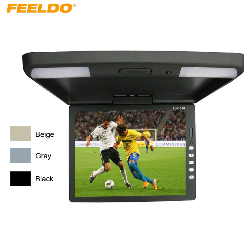FEELDO 13.3 Inch Car/Bus TFT LCD Roof Mounted Monitor Flip Down Monitor 2-Way Video Input 12V 13 inch car monitor tft led digital screen car roof mounted monitor dc 12v car monitor 2 way video input flip down monitor