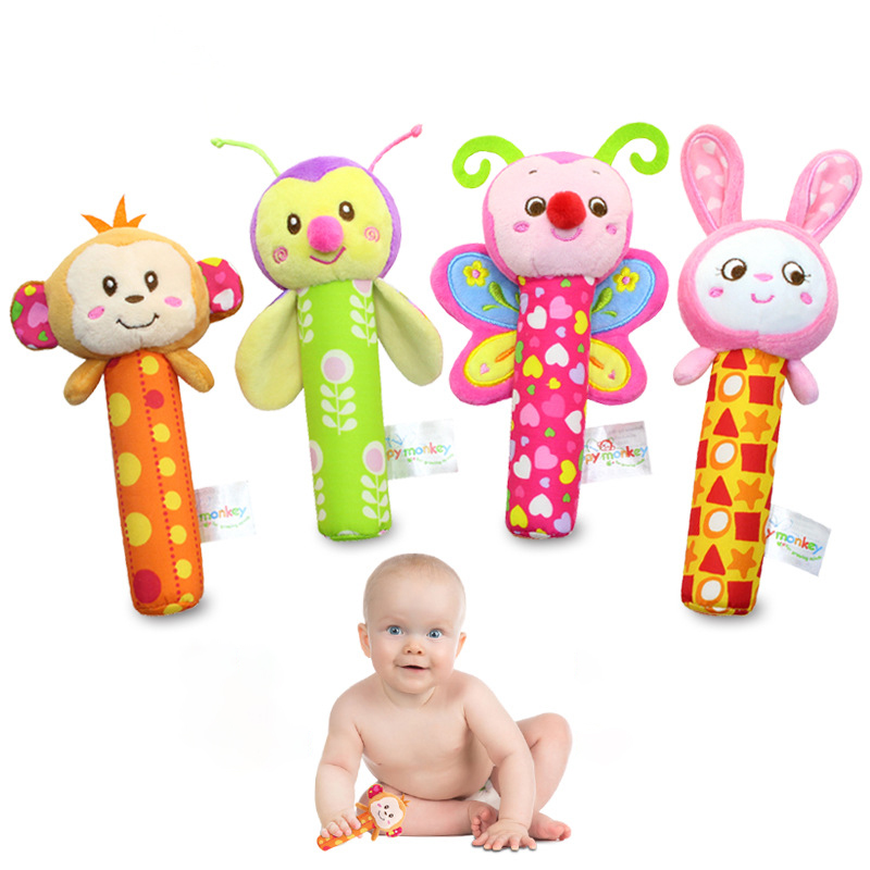 Newborn Baby Crib Mobile Infant Stroller Rattle Plush Toys Baby Rattles Hand Bell Toy for baby care