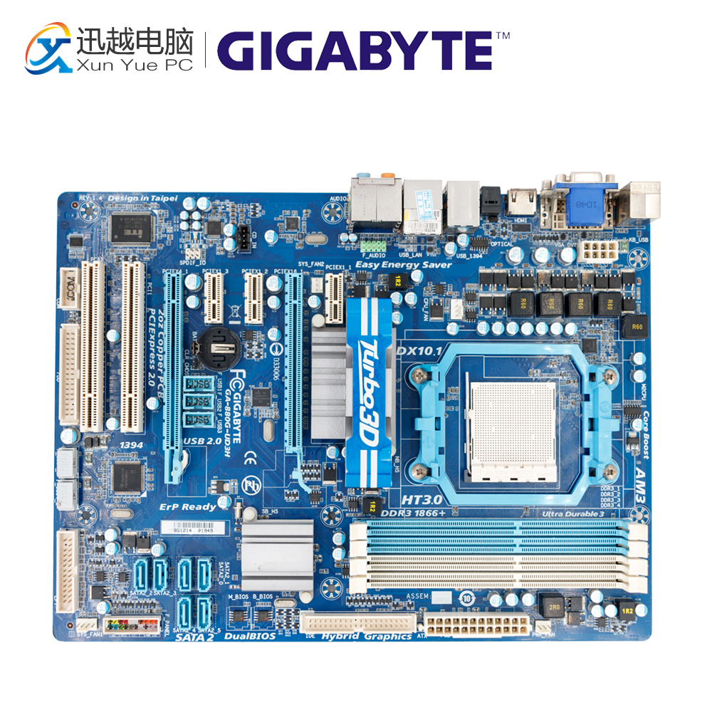 Gigabyte GA-880G-UD3H Desktop Motherboard 880G-UD3H 880G Socket AM3 DDR3 SATA2 USB2.0 ATX gigabyte ga ma785gmt us2h original used desktop motherboard amd 785g socket am3 ddr3 sata2 usb2 0 micro atx