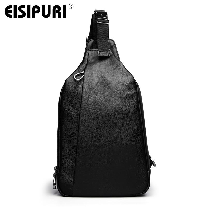 EISIPURI men genuine leather Crossbody Bags Messenger Chest Bag Casual Bag Waterproof Male Single Shoulder Strap Travel Bag