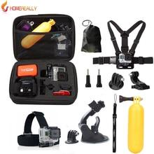 Gopro accessories set go pro kit mount for SJ4000 gopro hero 5 4 3 2 Black Edition SJCAM SJ5000 camera case xiaoyi chest tripod стоимость