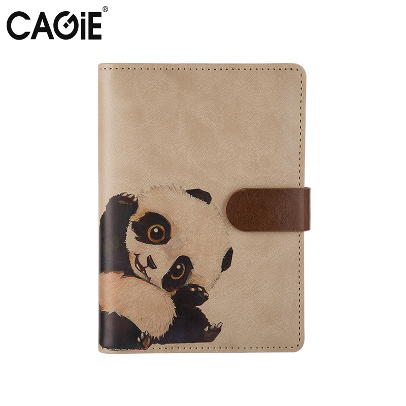 CAGIE Kawaii Notebook a6 Planner Organizer Agenda Cute Panda Travelers Notebooks Vintage Leather Journals Diary Planners genuine leather notebook travelers journal agenda handmade planner notebooks diary caderno sketchbook school supplies