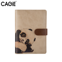 CAGIE Creative A6 Day Planner Spiral Notebook Animals Series Leather Cover Kawaii Diary Sketchbook School Note