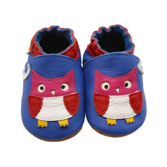 54b7ba431457 Sayoyo Baby Boy Shoes Cow Leather Baby Moccasin Owl Printed Blue Infant  Toddler Newborn Crib Shoes First Walker Free Shipping