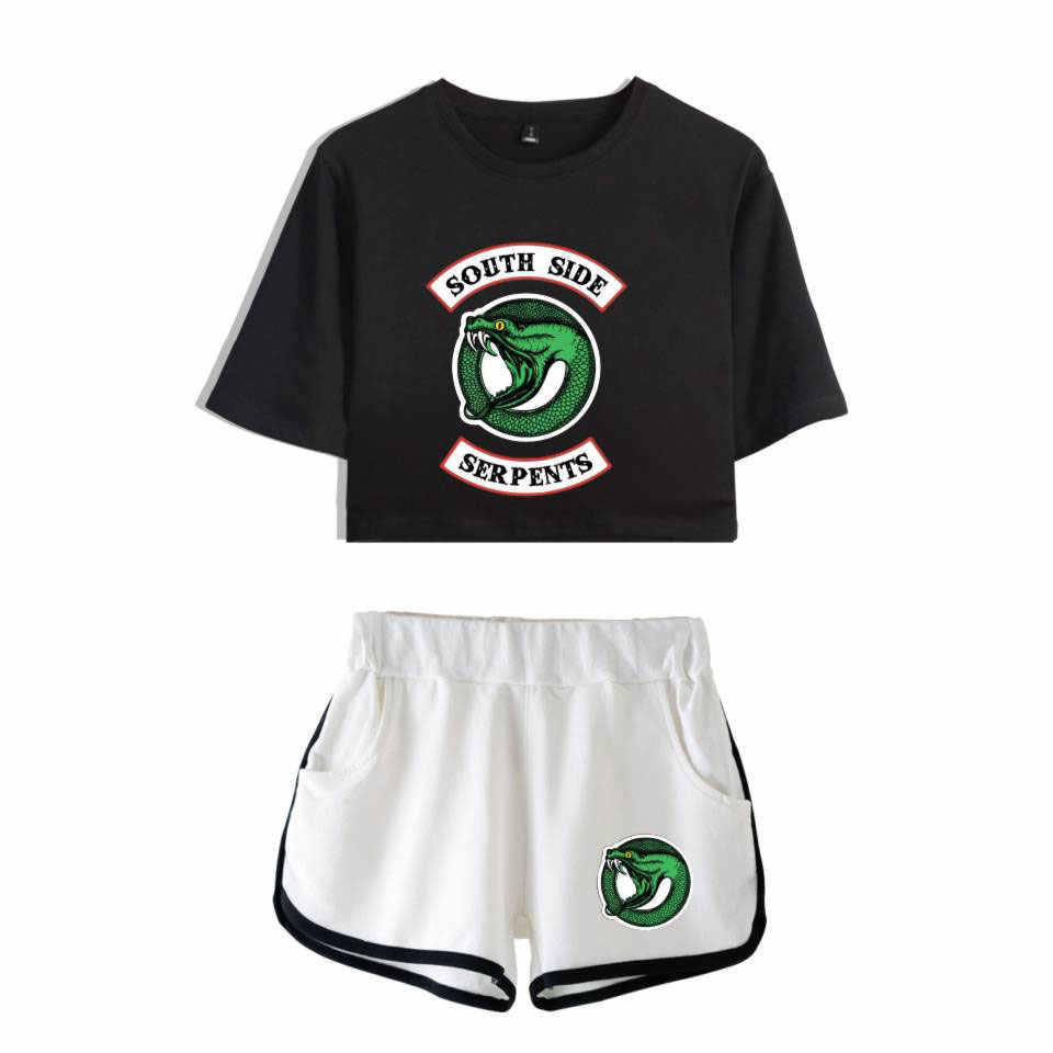 Riverdale Two Piece Set Summer Sexy 2019 3D Printed T shirt  New Suit Shorts Crop women Fashion south side serpents