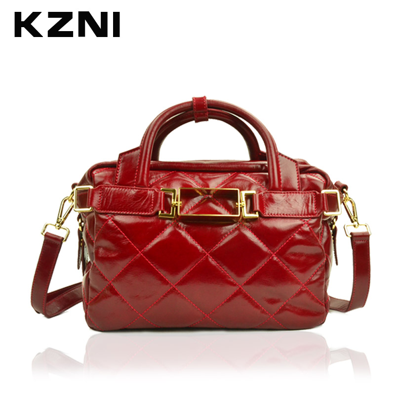 KZNI Women Bag Leather Handbag Brief Shoulder Bags Female Top-Handle Bags for Girls Fashion Sac a Main Femme De Marque 1162-1168 2017 new vintage black women shoulder bags chain bag plaid trunk women handbag sac a main femme de marque nouvelle collection