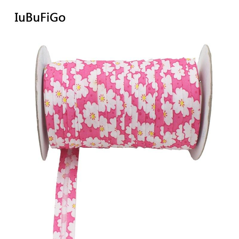 """Polyester 5/8""""(15mm) Flower Print Satin Bias Tape Bias"""