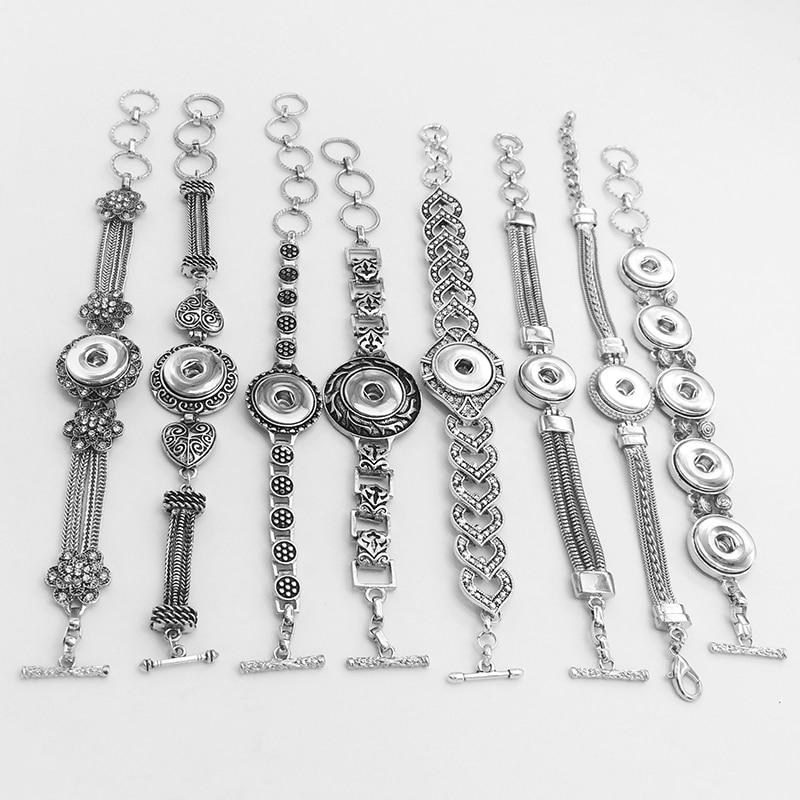 Vintage   Flower LOVE Metal 18mm  Snap Button Jewelry Bracelet  DIY  XHMN288
