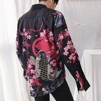 Men Japan Style Printing Causal Long Sleeve Shirts Male Retro Fashion Streetwear Hip Hop Dress Shirt