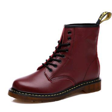 Fashion Winter Leather Dr Martin Boots Fur Martin High Top Casual Shoes   Ankle Botas Brand Women Motorcycle Boots Plus Size