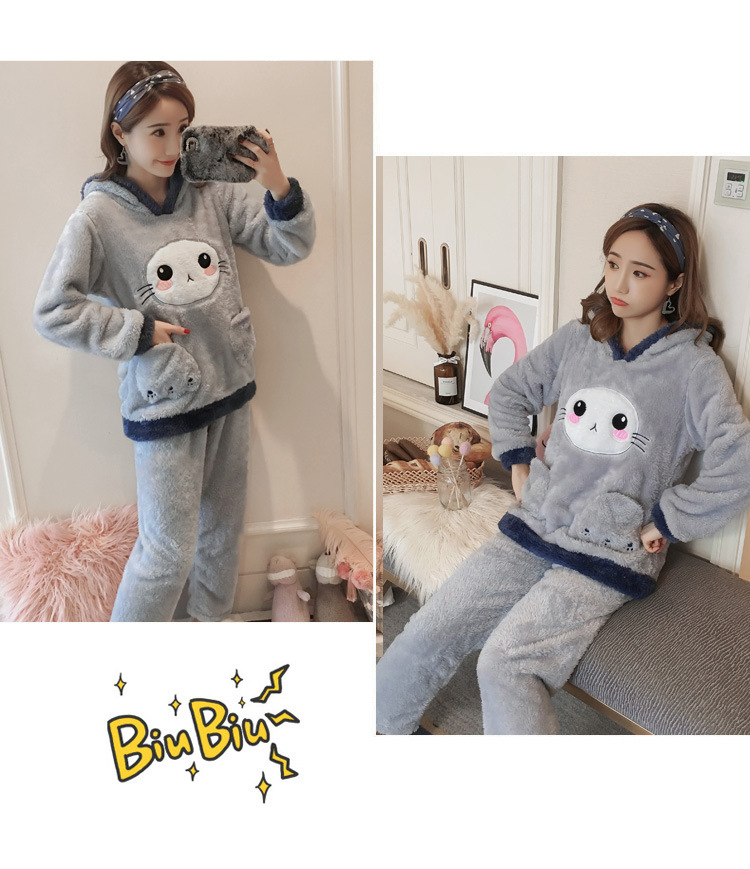 Winter Women Pajama Flannel Sleepwear Long Sleeves Hot Pajamas For Women Velvet Pajama Women Soft Clothing 83