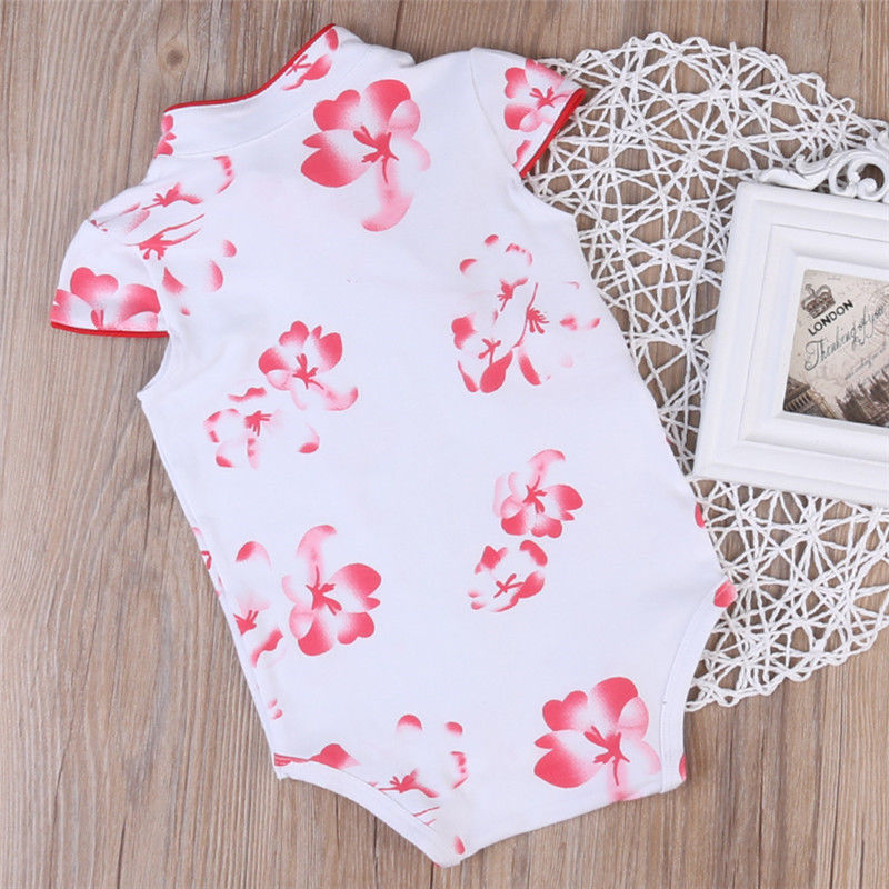 Bodysuits Lovely Chinese Style Cheongsam Baby Girls Bodysuits Flower Infant Jumpsuit Summer Soft Cotton Printed Baby Clothing Newborn Costume Durable Service Girls' Baby Clothing