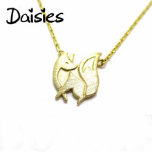 Daisies One Piece Fashion Baby Fox Shaped Silhouette Pendant Necklace Gold Silver For Women Animal Jewelry Collier Femme