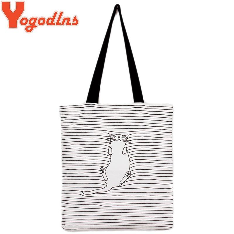 Yogodlns Women Bag Striped women shoulder handbag Cat Cute Simple Women Shoulder
