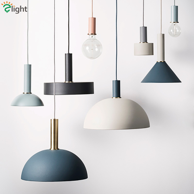 Nordic Minimalism Painted Colorful Metal Led Pendant Lamp DIY Combination Droplight Patoral Dining Room Hang Light Suspend Lamp modern minimalism painted metal windmill