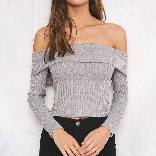 1f235bc22490c Women Sexy Off Shoulder Tops Long Sleeve Knitted T Shirt Casual Slim Back  Zipper Crop Tops Women T-shirts Tees