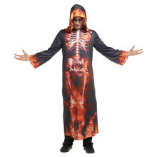 Adult Men Underworld Hell Fire Devil Costume Horror Skeleton Robe Grim Reaper Halloween Purim Party Carnival Cosplay Outfit