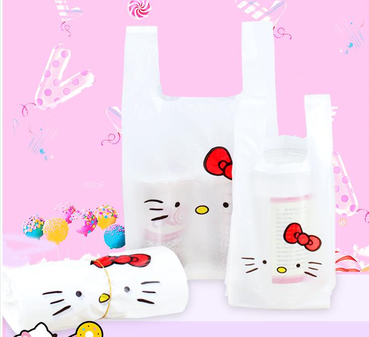Cute Hello kity vest handles cookie packaging plastic bags, 100pcs Supermarket Shopping  ...