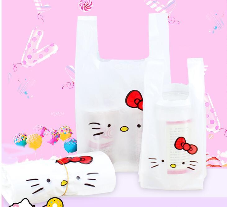 Hello KITY Жилет Ручки печенья упаковки пластиковых Сумки, 100 шт. супермаркет сумки снэк-эксклюзивная одежда Сумки ...