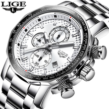 2019 LIGE Stainless Steel Men Watch Top Brand Luxury Fashion Business Big Dial Sport Waterproof Date Watches Mens Relojes Hombre