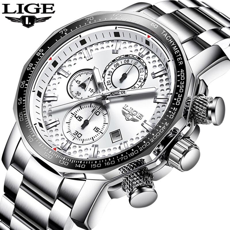 Relogio Masculino hommes montres LIGE Top marque de luxe affaires Quartz horloge hommes grand cadran mode étanche militaire Sport montre