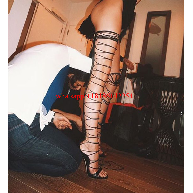 Sexy Ladies Over Knee High Gladiator Sandals Women Lace Up High Heels Pump Sandal Cross-strappy Thigh High Boots Summer Botas