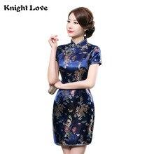 New Chinese Dress Vestidos Mujer Womens Silk Satin Cheongsam Qipao Dragon&Phenix Flower Traditional Size S-6XL