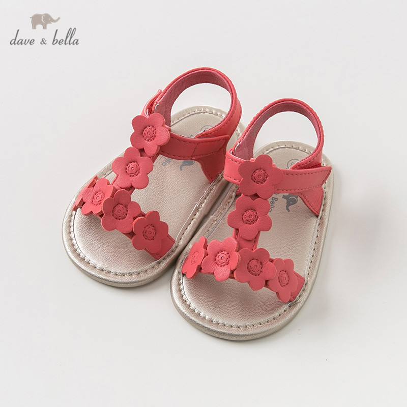 DB10246 Dave Bella Summer Baby Girl Sandals New Born Prewalkers Infant Shoes Girl Red Sandals Princesss Shoes Floral
