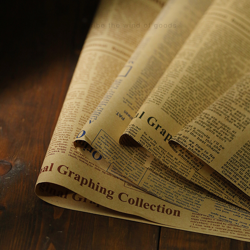 50*70cm Vintage Old English Newspaper European Ins Style Photo Props For Nostalgia Food Photography Background