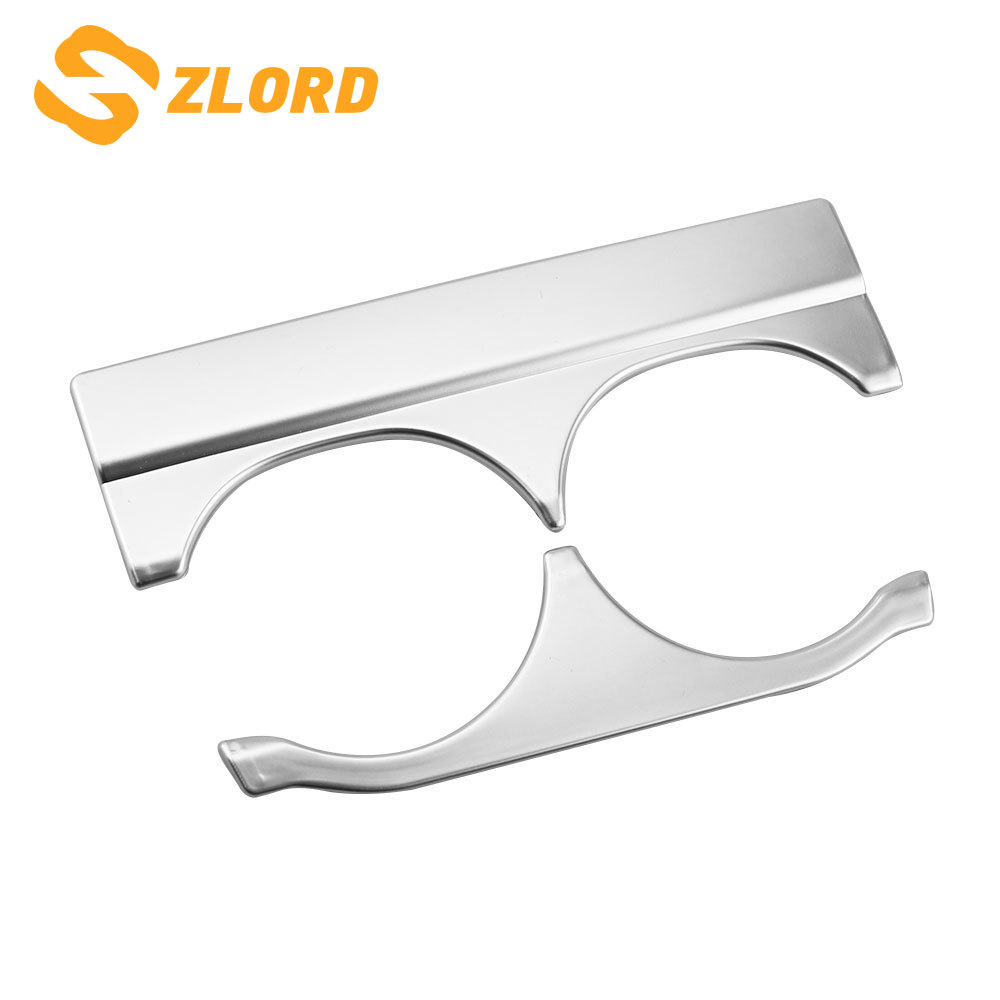 Zlord 2 Pcs/set ABS Chrome Car Interior Water Cup Decoration Trim Stickers for Honda City 2015 2016 2017 Parts Car Styling